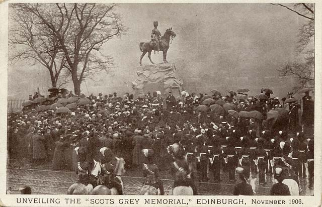 Postcard  -  M Wane & Co  -  Unveiling of the 'Scots Grey Memorial  -  Edinburgh, November 1906