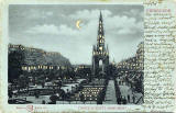 Postcard published by WH Berlin, with many small cut-out windows and moon, to be held up to the light   -  Edinburgh Castle and Scott Monument