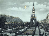 Zoom-in to the picture on a ostcard published by WH Berlin, with many small cut-out windows and moon, to be held up to the light   -  Edinburgh Castle and Scott Monument