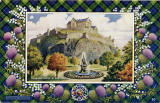 "Postcard in the ""Best of All"" series by J B White Ltd, Dundee  -  Edinburgh Castle and the Ross Fountain  -  framed with at Gordon tartan border"