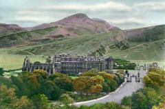 JB White - hand-coloured photo - an intermediate stage in producing a coloured postcard  -  Holyrrood Palace and Abbey