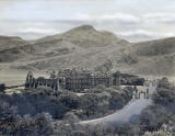 JB White - an original black and white photo used to produce a coloured postcard  -  Holyrrood Palace and Abbey