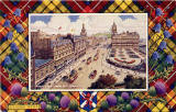 "Postcard in the ""Best of All"" series by J B White Ltd, Dundee  -  Princes Street looking east towards theNorth British Hotel  -  framed by a Buchanan tartan"
