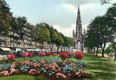 JB White - hand-coloured photo - an intermediate stage in producing a coloured postcard  -  The Scott Monument, Princes Street