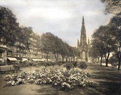 JB White - an original black and white photo used to produce a coloured postcard  -  The Scott Monument, Princes Street