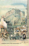 Postcard by W R & S  - Edinburgh Castle from the Grassmarket, 1837