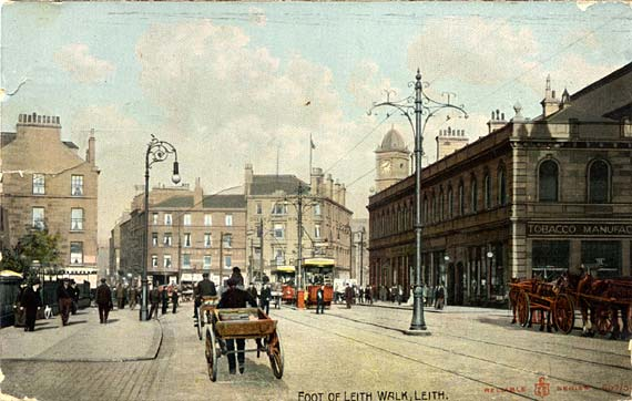 W R & S Reliable Series postcard  -  The foot of Leith Walk