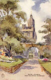 Postcard by W R & S  - View of Heriot's Hospital from Greyfriar's Graveyard, based on a watercolour by GBH (whoever that was)