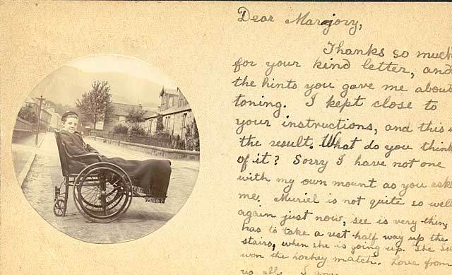 Postcard from a friend sent to Marjory Edward, daughter of John Donaldson Edward