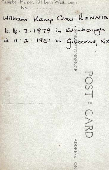 The back of a postcard portrait of a Soldier  -  from the Campbell Harper studio