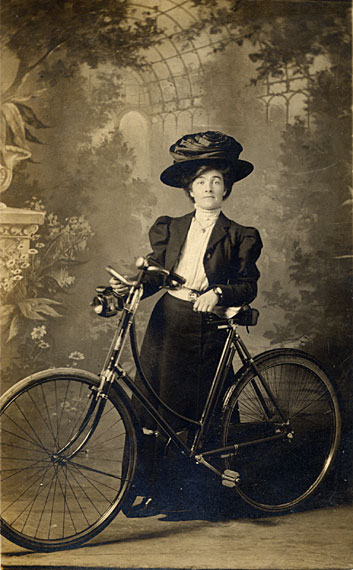 GR Mackay  -  Postcard Portrait  -  Lady with Cycle