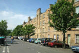 Looking to the NW down Balfour Street, towards Pilrig Park and Pilrig House
