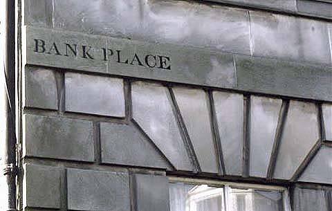 Old street names on buildings in Leith  -  Bank Place