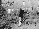 Phil Wilson in Wardie School Uniform, in the back gardens of Boswall Wuadrant with his bike