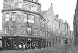 Looking up Candlemaker Row to the SE from Merchant Street