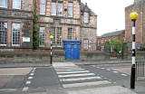 Police Box and Zebra Crossing outside Royal Mile Primary School, Canongate