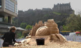 Sandcastle built in Castle Street, Edinburgh to mark the launch of Spanair's new route between Edinburgh and Barcelona - May 2010