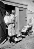 John + Joan Martin at their prefab, 5 Craigour Avenue  -  Photo taken 1950