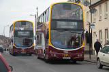 Looknig NW down Drum Street towards the centre of Gilmerton - 2011  -  Two buses