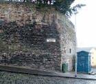 The Flodden Wall and Police Box on the corner of Drummond Street and Pleasance  -  December 2007