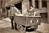 A Lanny and his ice cream barrow in Henderson Street, Leith