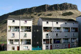 Looking to the east to the backs of the homes in Dumbiedykes Road, and beyond to Salisbury Crags in Holyrood Park