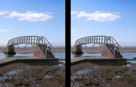 Stereo View of the 'Bridge to Nowhere', Belhaven Bay, Dunbar, Scotland