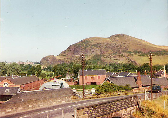 The view from 15 Station Road, Craigmillar, looking towards Arthur's Seat, Holyrood Park, Edinburgh