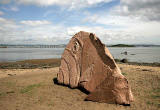 Carved stone fish on the beach at Cramond  -  2009