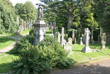 VIew of part of Dean Cemetery  from the grounds of Dean Gallery