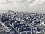 Looking down on Dumbiedykes and out towards Edinburgh Castle from Salisbury Crags  -  probably around the 1950s.