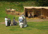 A scene from 'The Life of Jesus Christ' - a play presented at Dundas Castle  -  Mary, Joseph and Jesus with the shepherds outside the stable