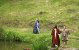 A scene from 'The Life of Jesus Christ' - a play presented at Dundas Castle  -  John the Baptist and Jesus on the Banks of the River Jordan