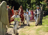 A scene from 'The Life of Jesus Christ' - a play presented at Dundas Castle  -  Jesus enters Jerusalem