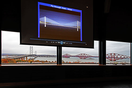 The two existing bridges across the Firth of Forth at Queensferry and (on the screen) an artist's impression of the third bridge there, 'The Queensferry Crossing', due to open in 2016.
