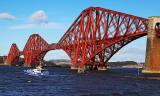The Forth Bridge and 'Forth Belle' on a cruise in the Firth of Forth from Queensferry  -  October 29, 2013