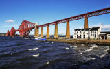 The Forth Bridge and 'Forth Belle' and the new Lifeboat Station at Hawes Pier, Queensferry  -  October 29, 2013