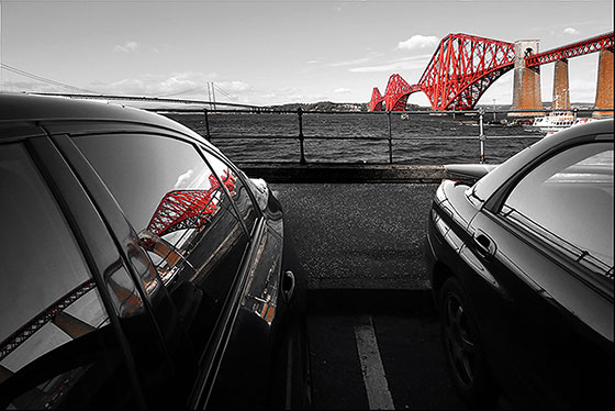 Reflections of the Forth Bridge (in a car parked at Queensferry) -  October 29, 2013