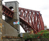The Forth Bridge and Flag  -  North Queensferry