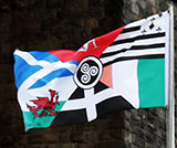 'Pan-Celtic' Flag based on the flags of 6 Celtic Nations - beneath the Forth Bridge at North Queensferry