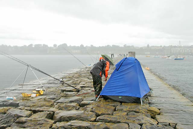 Fishing for mackerel from Granton Eastern Breakwater during a summer storm  -  July 9, 2006