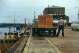 John Reid unloading a TL Devlin Trawler on Middle Pier at Granton Harbour