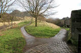 The route to the 'Slidey Stane' from the Entrance to Holyrood Park at the southern end of St Leonard's Bank
