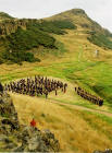 "Pipers gather in Hunter's Bog, on Arthur's Seat, before joining the ceremony of ""Beating the Retreat"" on 17 August 2003"