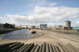 View, looking along Alexandra Dock beside the old swing bridge in Leith Harbour, towards Ocean Terminal shopping centre and cinema complex.