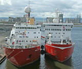 British Antarctic Survey Vessels  -  RMS James Clark Ross and HMS Endurance at Leith Western Harbour  -  June 2006