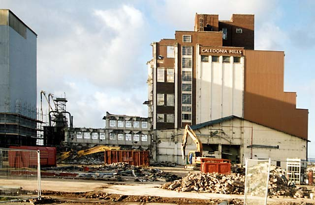 Caledonia Mill being demolished  -  Leith Western Harbour  -   November 2004