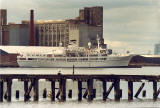 Leith Docks  -  1989  -   The cruise ship Illiria in front of Caledonia Mills