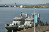 Royal Navy Archer Class Patrol & Training V essels moored beside Britannia at Leith Western Harbour