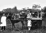 Michele Iannarelli selling ice cream from a pony and cart on Leith Links, probably in the 1920s